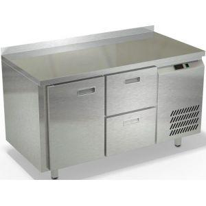 Стол холодильный, GN2/3, L1.39м, борт H50мм, 1 дверь глухая+2 ящика, ножки, -2/+10С, нерж.сталь, дин.охл., агрегат справа