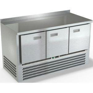 Стол холодильный, GN1/1, L1.49м, борт H50мм, 3 двери глухие, ножки, -2/+10С, нерж.сталь, дин.охл., агрегат нижний