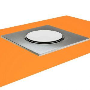 Диспенсер для тарелок, нейтральный, L0.50м, 1 цилиндр 45шт. (D320мм), встраиваемый, нерж.сталь