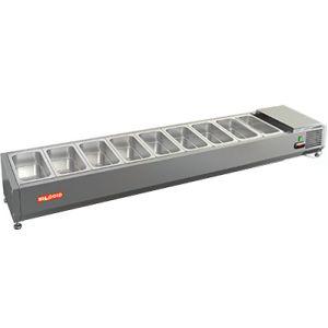 Витрина холодильная настольная, горизонтальная, для топпингов, L1.97м, 9GN1/3, +2/+7С, стат.охл., открытая, ножки