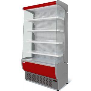 Стеллаж холодильный, пристенный, L1.19м, 4 полки, 0/+7С, дин.охл., белый+красный, фронт открытый, боковины стекло, ночная шторка, подсветка