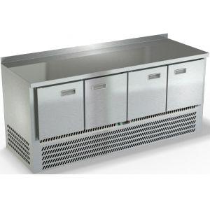 Стол холодильный, GN1/1, L1.97м, борт H50мм, 4 двери глухие, ножки, -2/+10С, нерж.сталь, дин.охл., агрегат нижний