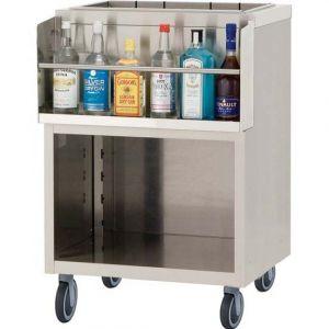 Модуль барный нейтральный,  600х550х900мм, без борта, полузакрытый без двери, ролики, нерж.сталь, держатель бутылок, ванна для льда