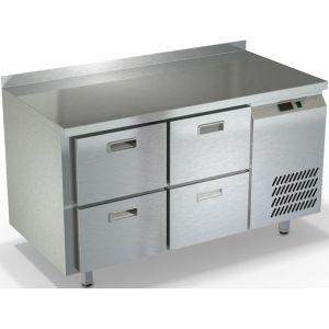 Стол холодильный, GN1/1, L1.39м, борт H50мм, 4 ящика, ножки, -2/+10С, нерж.сталь, дин.охл., агрегат справа