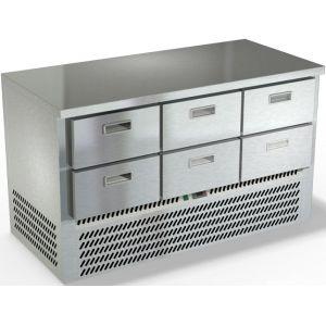 Стол холодильный, GN2/3, L1.49м, без борта, 6 ящиков, ножки, -2/+10С, нерж.сталь, дин.охл., агрегат нижний