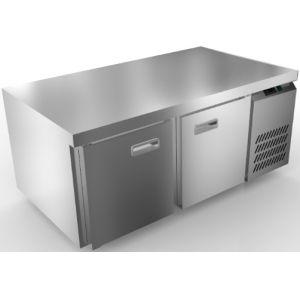 Стол морозильный низкий, GN1/1, L1.39м, без борта, 2 двери глухие, ножки, -10/-18С, нерж.сталь, дин.охл., агрегат справа