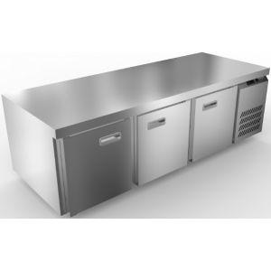 Стол морозильный низкий, GN1/1, L1.84м, без борта, 3 двери глухие, ножки, -10/-18С, нерж.сталь, дин.охл., агрегат справа
