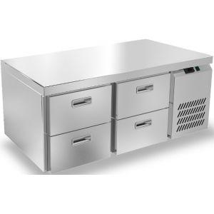 Стол морозильный низкий, GN1/1, L1.39м, без борта, 4 ящика, ножки, -10/-18С, нерж.сталь, дин.охл., агрегат справа