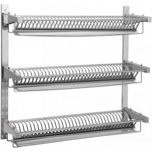 Полка настенная для тарелок,  985х315х940мм, 3 уровня решетчатых, открытая, нерж.сталь, 110 тарелок