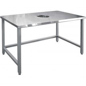 Стол производственный для сбора отходов,  800х700х860мм, без борта, открытый, обвязка с 3-х сторон краш., разборный, труба краш., отв.D220мм центр.