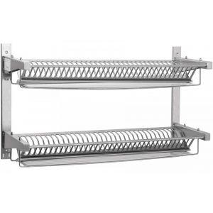 Полка настенная для тарелок,  985х315х590мм, 2 уровня решетчатых, открытая, нерж.сталь, 70 тарелок
