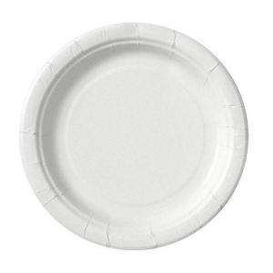 Тарелка 230мм круглая ламинированная бумага белая