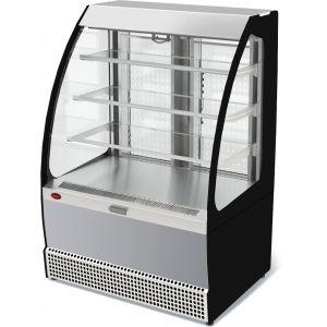 Витрина холодильная напольная, горизонтальная, для самообслуживания, L0.95м, 3 полки, +1/+10С, дин.охл., нерж.сталь, фронт открытый
