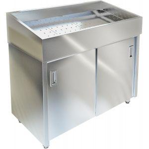 Витрина нейтральная напольная, горизонтальная, для выкладки соков на льду, L0.90м, нерж.сталь, двери-купе, без агрегата