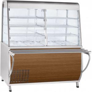 Прилавок-витрина холодильный, L1.50м, ванна охлаждаемая +5/+15С, стенд полузакрытый без двери, кашир.металл «дуб», направляющие