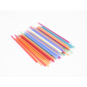 Трубочки для напитков прямые D 7мм L 210мм пластик цветные