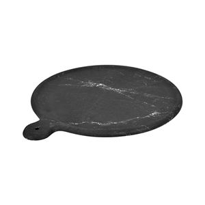 Блюдо для выкладки D 45см h 1,5см с ручкой, пластик черный мрамор