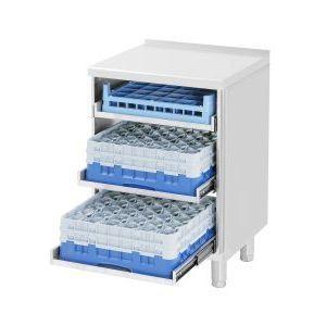 Модуль барный нейтральный для посудомоечных корзин,  600х550х900мм, без борта, полузакрытый без двери, ножки, нерж.сталь (Уценённое)