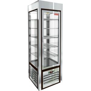 Витрина холодильная напольная, вертикальная, L0.60м, 5 полок, +2/+10С, дин.охл., нерж.сталь, 4-х стороннее остекление, ножки низкие
