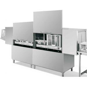 Машина посудомоечная конвейерная для корзин 510х500мм, 2.6-4.0м/мин, левая, гор.вода, без дозаторов, защита от брызг, 2 части