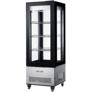 Витрина холодильная напольная, вертикальная, L0.65м, 3 полки, 0/+10С, дин.охл., черная, 4-х стороннее остекление, колёса