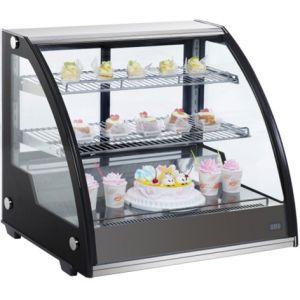 Витрина холодильная настольная, горизонтальная, L0.80м, 2 полки, 0/+12С, дин.охл., чёрная, стекло фронтальное гнутое