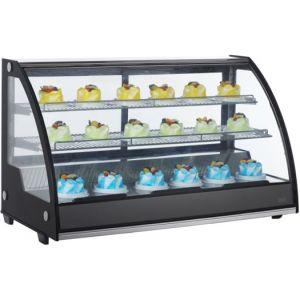 Витрина холодильная настольная, горизонтальная, L1.22л, 2 полки, 0/+12С, дин.охл., чёрная, стекло фронтальное гнутое