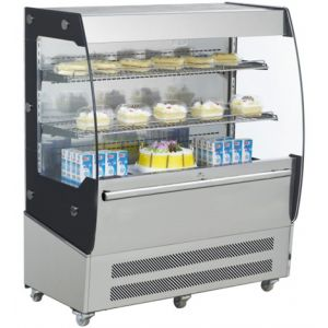 Витрина холодильная напольная, вертикальная, для самообслуживания, L1.00м, 2 полки, +2/+12С, дин.охл., нерж.сталь+чёрная рамка, фронт открытый, колеса