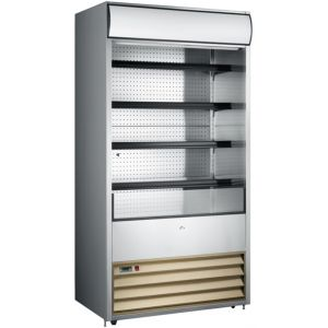 Стеллаж холодильный, пристенный, L0.92м, 4 полки, +2/+10С, дин.охл., нерж.сталь, фронт открытый, боковины глухие, ночная шторка, колеса, канапе