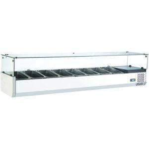 Витрина холодильная настольная, горизонтальная, для топпингов, L1.80м, 8GN1/3, 0/+12С, стат.охл., нерж.сталь, верхняя структура стекло