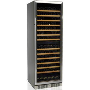 Шкаф холодильный д/вина, 154бут. (370л), 1 дверь стекло, 14 полок, ножки, +5/+18С, стат.охл.+вент., черный, рама двери нерж.сталь, 2 темп.зоны