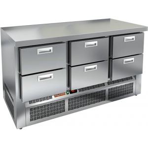 Стол холодильный, GN1/1, L1.49м, без борта, 6 ящиков, ножки, -2/+10С, нерж.сталь, дин.охл., агрегат нижний