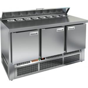 Стол холодильный саладетта, GN2/3, L1.49м, борт H50мм, 3 двери глухие, ножки, +2/+10С, нерж.сталь, дин.охл., агрегат нижний, гнездо 8GN1/6, крышка