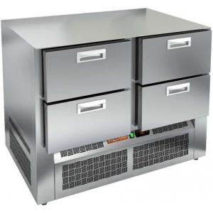 Стол холодильный, GN1/1, L1.00м, без столешницы, 4 ящика, ножки, -2/+10С, нерж.сталь, дин.охл., агрегат нижний