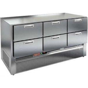 Стол холодильный, GN1/1, L1.49м, без столешницы, 6 ящиков, ножки, -2/+10С, нерж.сталь, дин.охл., агрегат нижний
