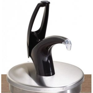 Дозатор для густых соусов, порция 30мл, встраиваемый, насос пластик чёрный, круглая крышка нерж.сталь