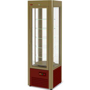 Витрина холодильная напольная, вертикальная, L0.60м, 5 полок, +1/+10С, дин.охл., золотисто-коричневая, 4-х стороннее остекление, полки стекло+металл