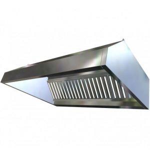 Зонт вытяжной пристенный, 2200х1200х400мм, лаб.фильтры, кепкой, нерж.сталь 430, без подсветки, без отверстия
