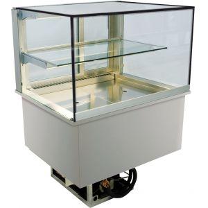 Витрина холодильная встраиваемая, горизонтальная, L0.80м, 2 уровня, +2С, дин.охл., нерж.сталь, LED-подсветка, прямое фронт.стекло, агрегат встр.