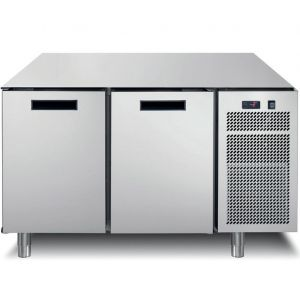 Стол морозильный, GN1/1, L1.26м, без столешницы, 2 двери глухие, ножки, -18/-24С, нерж.сталь, дин.охл., агрегат справа