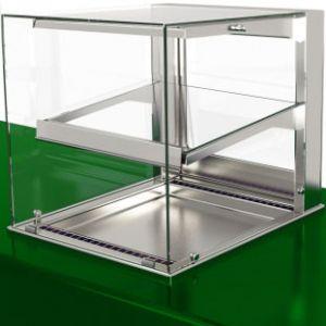 Витрина нейтральная встраиваемая, горизонтальная, L0.60м, 1 полка, нерж.сталь, стекло фронтальное прямое, подсветка