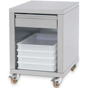 Подставка под пресс для пиццы PZF/*,  615х690х775мм, без борта, полузакрытая без дверей, нерж.сталь, ящик, колеса