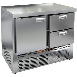 Стол холодильный, GN1/1, L1.00м, без борта, 1 дверь глухая+2 ящика, ножки, -2/+10С, нерж.сталь, дин.охл., агрегат нижний