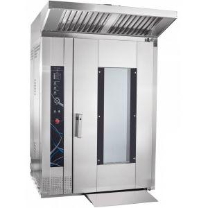 Печь электрическая конвекционно-ротационная, 1 тележка 18х(800х600мм), управление сенсорное, корпус нерж.сталь, увлажнение, зонт вытяжной, разборный