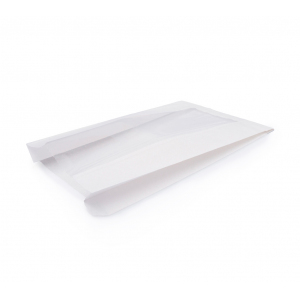 Пакет бумажный 250х140х60мм с окном плоское дно белый