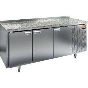 Стол холодильный, GN2/3, L1.84м, борт H50мм, 3 двери глухие, ножки, -2/+10С, нерж.сталь, дин.охл., агрегат справа, столеш.камень