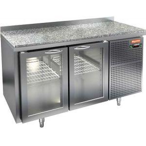 Стол холодильный, GN2/3, L1.39м, борт H50мм, 2 двери стекло, ножки, -2/+10С, нерж.сталь, дин.охл., агрегат справа, гранит.пов.