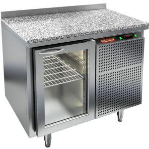 Стол холодильный, GN1/1, L1.06м, борт H50мм, 1 дверь стекло, ножки, -2/+10С, нерж.сталь, дин.охл., агрегат справа, гранит.пов.