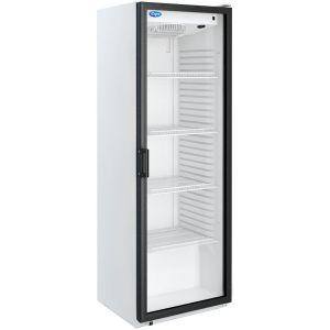 Шкаф холодильный,  390л, 1 дверь стекло, 4 полки, ножки, 0/+7C, дин.охл., белый, подсветка