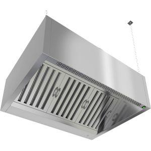 Зонт вытяжной пристенный, 1000х1000х400мм, лаб.фильтры, коробчатый, нерж.сталь, без подсветки, отверстие